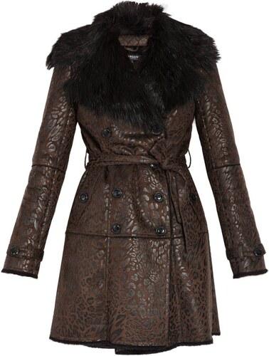 5b75251624ae2 Morgan Manteau imitation peau lainée - marron - Glami.fr