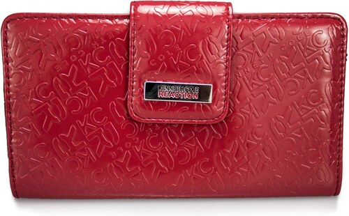 Kenneth Cole Reaction Womens Tab Clutch Wallet Logo Embossed Print