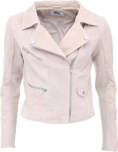 Béžová kožená bunda Vero Moda Marli - Glami.cz 1bdafec1628