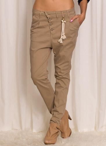 1e53851523f Dámské béžové kalhoty s nízkým sedem - XSGlamorous by Glam - Glami.cz