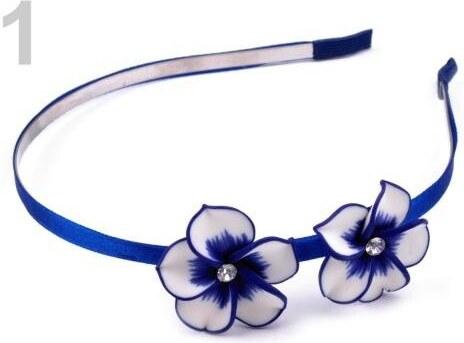 Stoklasa stok 100844 Kovová čelenka s květy Fimo (1 ks) - 1 modrá safírová d7a8fe7d2c