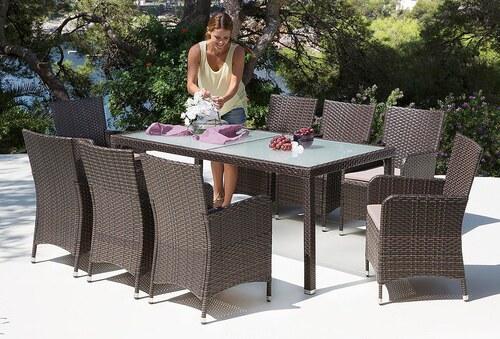 17-tgl. Gartenmöbelset »Sanremo«, 8 Sessel, Tisch 185x90 cm, Polyrattan, braun, inkl. Auflagen