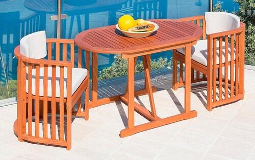 5-tgl. Gartenmöbelset »Brasilia«, 2 Sessel, Tisch 120x70 cm, Eukalyptusholz, inkl. Auflagen