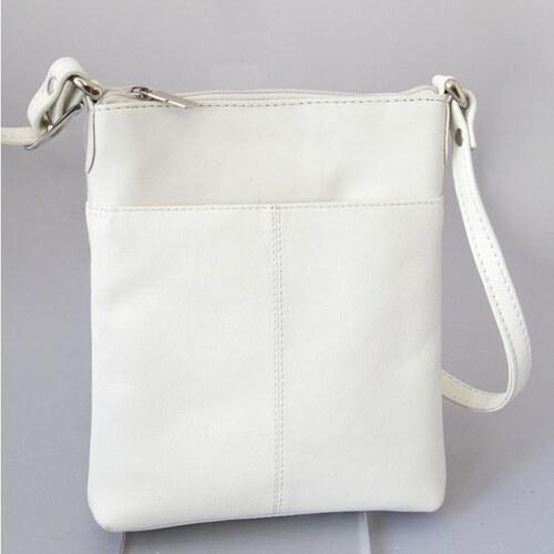 bílá kožená zipová mini-kabelka