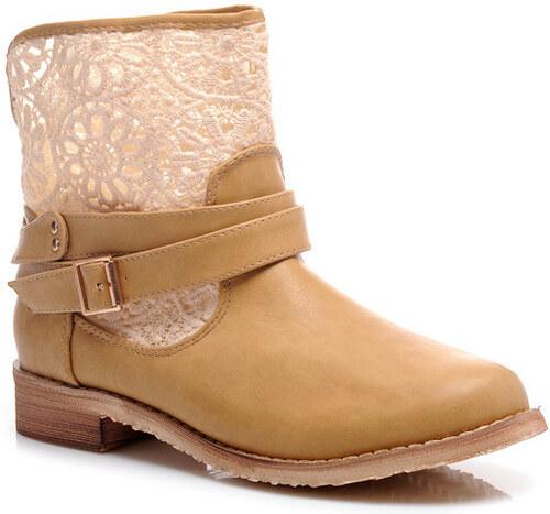 Perfect shoes Nízké letní kozačky s krajkou hnědé Velikost  39 25 852aef188d