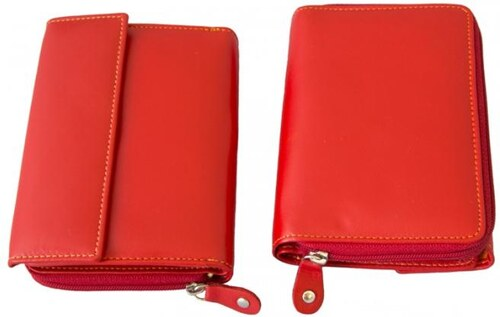červená dámská kožená peněženka s malou klopnou