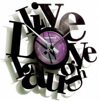 Designové nástěnné hodiny Discoclock 007 Live Love Laugh 30cm