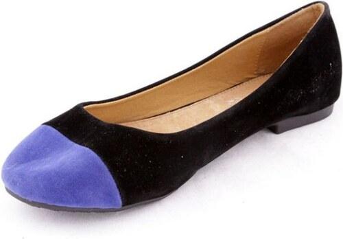 Krásné černé balerinky s modrou špičkou 36