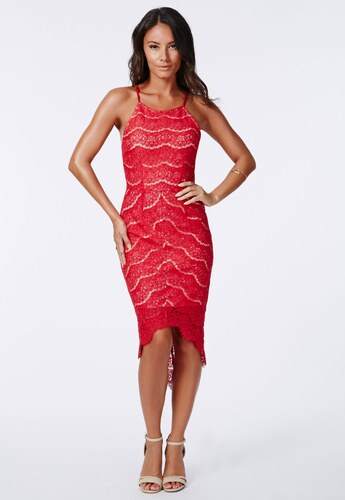 MISSGUIDED Ohnivě červené krajkové šaty Lolla - Glami.cz 6dff7db6c63