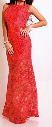531656d98e03 DAMSON Červené krajkové šaty dlouhé - Glami.cz