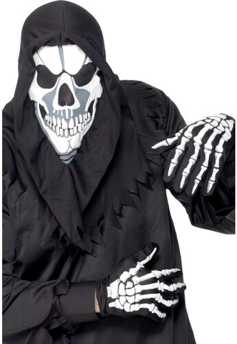 Kapuce a rukavice kostlivec bílý