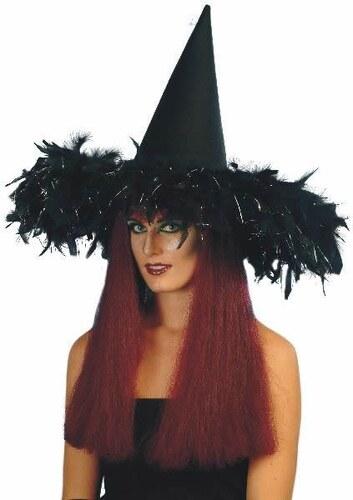 Klobouk Čarodějnice černý s péřovým
