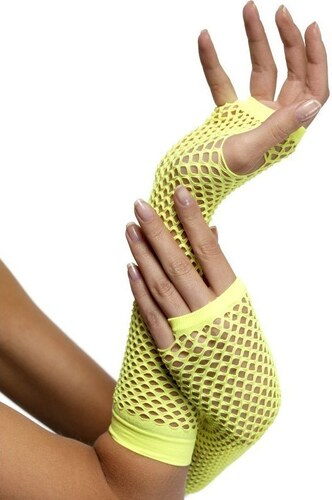 Síťované rukavice neon žlutá bez prstů