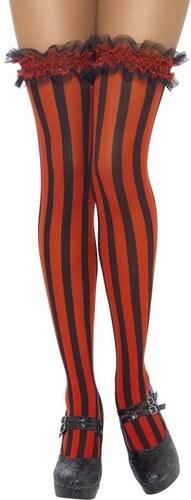 Punčochy podélné pruhy černá a červená