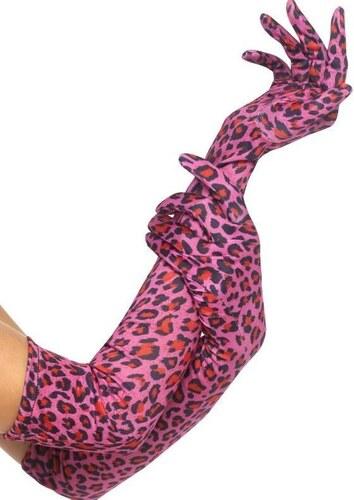 Rukavice leopard růžové 52 cm