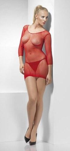 Síťované šaty červené