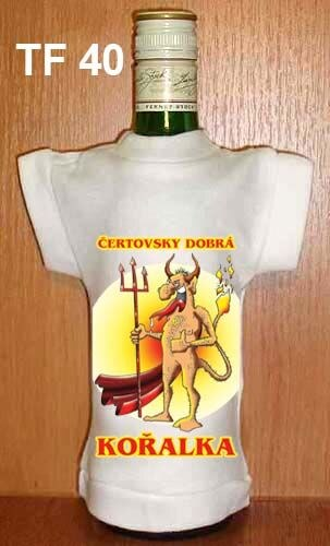 Tričko na flašku Čertovsky dobrá kořalka