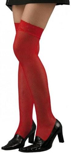 Punčochy síťované červené s krajkou
