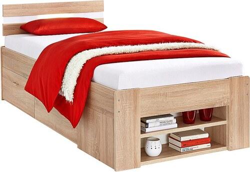 Bett, wahlweise mit Rollrost und Federkernmatratze