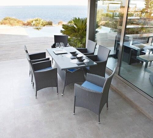 20-tgl. Gartenmöbelset »Santiago«, 6 Sessel + Auflagen, Tisch 150x80 cm, Polyrattan, grau