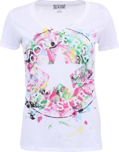 eb540df8e94 Bílé dámské tričko s barevným potiskem Converse - Glami.cz