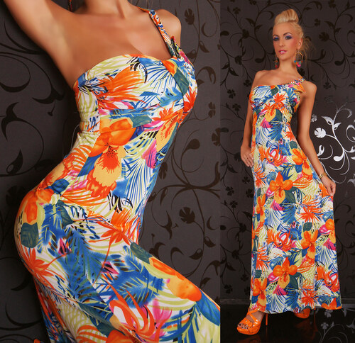 Dlouhé letní šaty květinové Queen O.F. ST122 - Glami.cz fad4192ce3