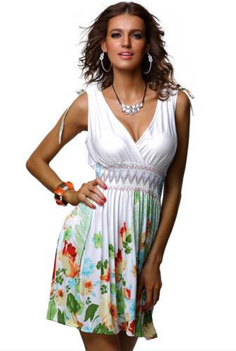 Trendy Moda Letní šaty bílé s květy 3cff2c0e6d8