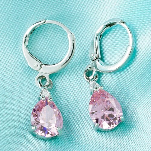 003 Luxusní visací naušnice s růžovým zirkonem