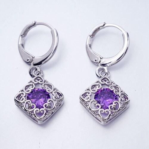 003 Visací naušnice s ozdobnými srdíčky - fialový kámen