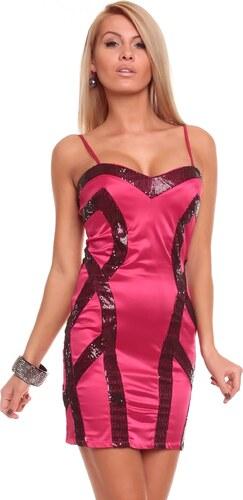 MAYAADI DeLuxe Dámské luxusní společenské šaty - růžová