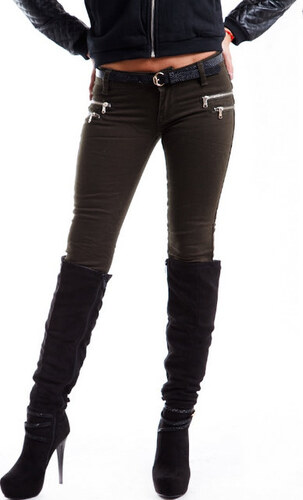 Luxusní dámské kalhoty - khaki
