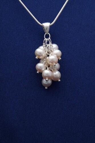 Přívěsek s perlami PVP001 - bílá