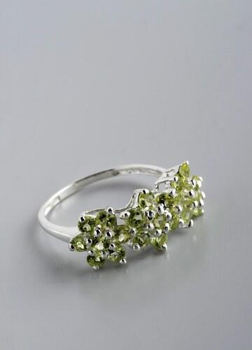 Stříbrný prsten s olivíny PK026