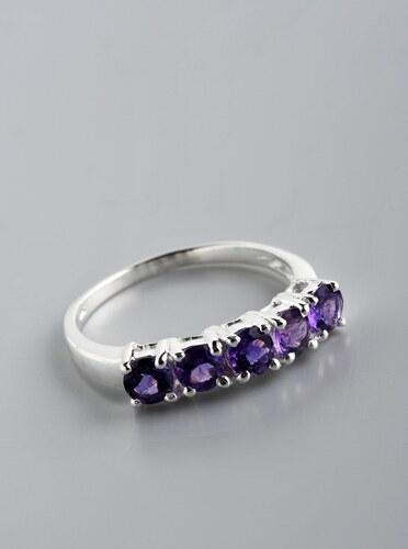 Stříbrný prsten s ametysty PK031