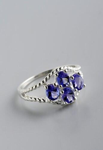 Stříbrný prsten s tanzanity PK041