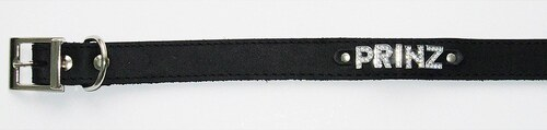 Hundehalsband »Prinz« aus Leder in schwarz
