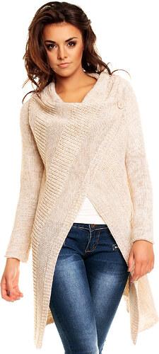 Dlouhý dámský pletený svetr / pončo Lacomy - béžový