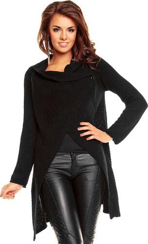 Dlouhý dámský pletený svetr / pončo Lacomy - černý