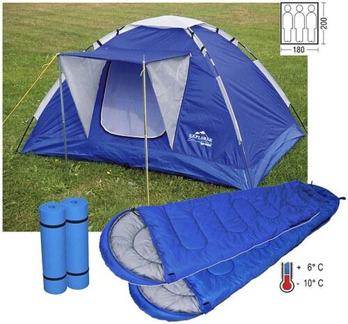 Set: Iglu-Zelt für bis zu 3 Personen, Inkl. 2 Schlafsäcken und Isomatten