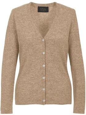 6a5d42015125 Béžový dámský kašmírový svetr s propínáním a výstřihem do V