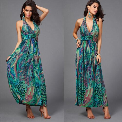 6284ed60698 Trendy Moda Letní šaty nevšední vzor zelené SF332 - Glami.cz