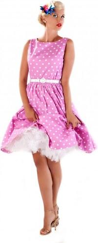 AUDREY růžové puntíkaté šaty ve stylu padesátých let - Retro Šaty ... 8ab270cbba