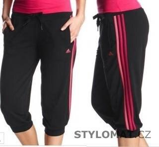 Adidas Dámské černo růžové capri kalhoty adidas ESS 3S 3 4KN - M ... 4575240a1d