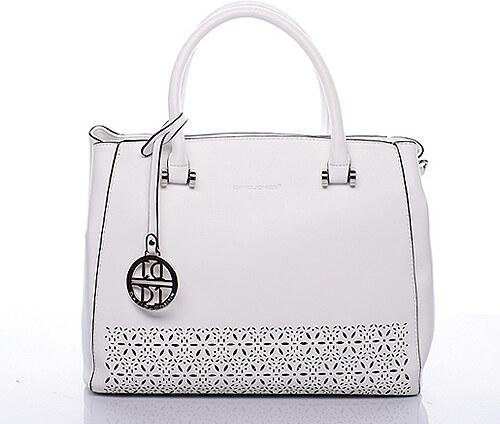 515dcdfebf0 Bílá elegantní perforovaná kabelka do ruky David Jones Krees bílá ...