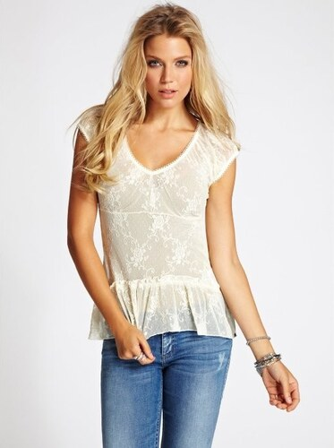 GUESS top Floral Lace-béžová-M
