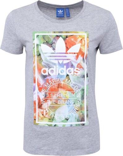 Šedé dámské tričko s logem a barevným potiskem adidas Originals ... 6224e6cd80b