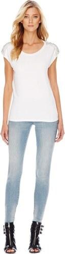 MICHAEL KORS tričko Rhinestone Shoulder-bílá-M