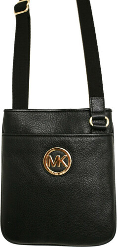 Michael Kors Elegantní kožená crossbody kabelka Fulton Leather Crossbody  černá zlatá 5f3a2beece6