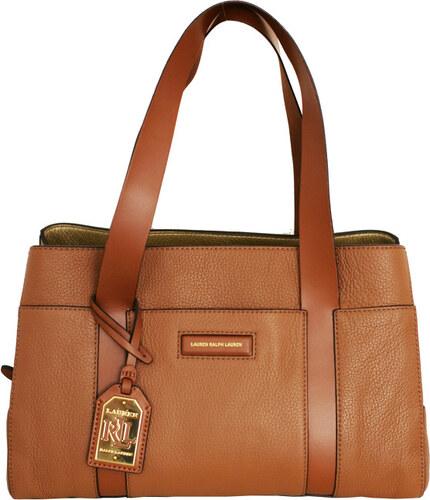 3fc091112 Ralph Lauren Elegantní kožená kabelka Pendridge Satchel hnědá/zlatá ...