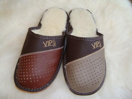 008 Pantofle s ovčí vlnou pánské